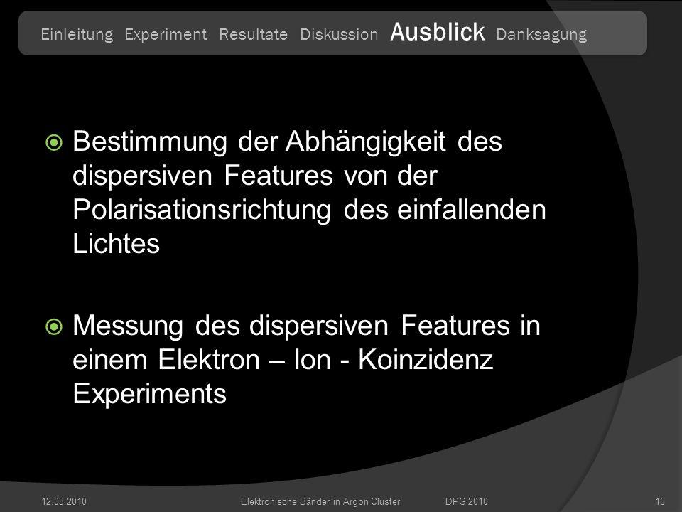 Bestimmung der Abhängigkeit des dispersiven Features von der Polarisationsrichtung des einfallenden Lichtes Messung des dispersiven Features in einem