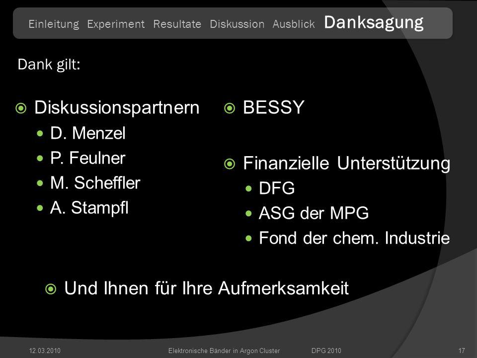 12.03.201017 Diskussionspartnern D. Menzel P. Feulner M. Scheffler A. Stampfl BESSY Finanzielle Unterstützung DFG ASG der MPG Fond der chem. Industrie
