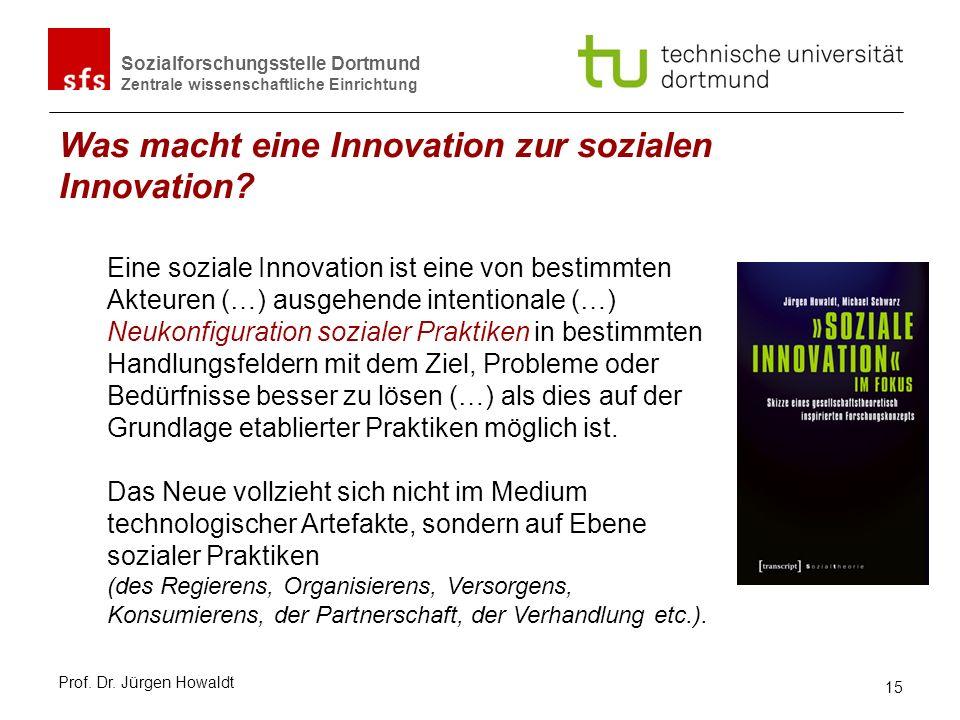 Sozialforschungsstelle Dortmund Zentrale wissenschaftliche Einrichtung Was macht eine Innovation zur sozialen Innovation? Eine soziale Innovation ist