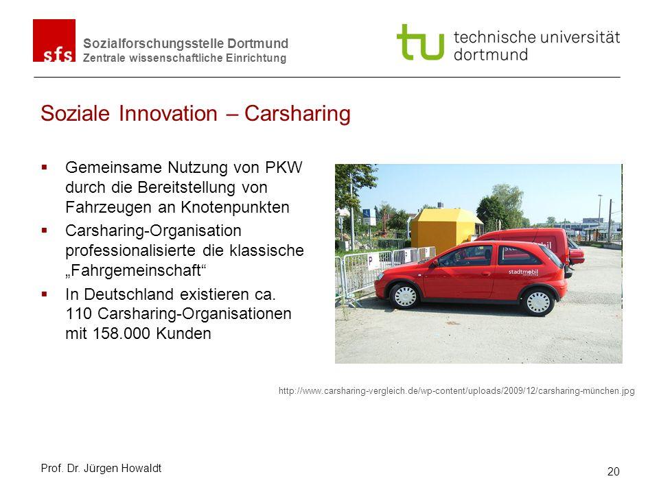 Sozialforschungsstelle Dortmund Zentrale wissenschaftliche Einrichtung Soziale Innovation – Carsharing Gemeinsame Nutzung von PKW durch die Bereitstel