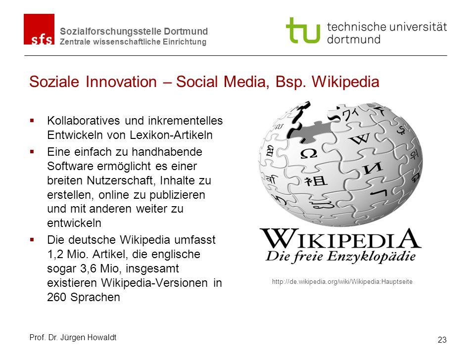 Sozialforschungsstelle Dortmund Zentrale wissenschaftliche Einrichtung Soziale Innovation – Social Media, Bsp. Wikipedia Kollaboratives und inkremente