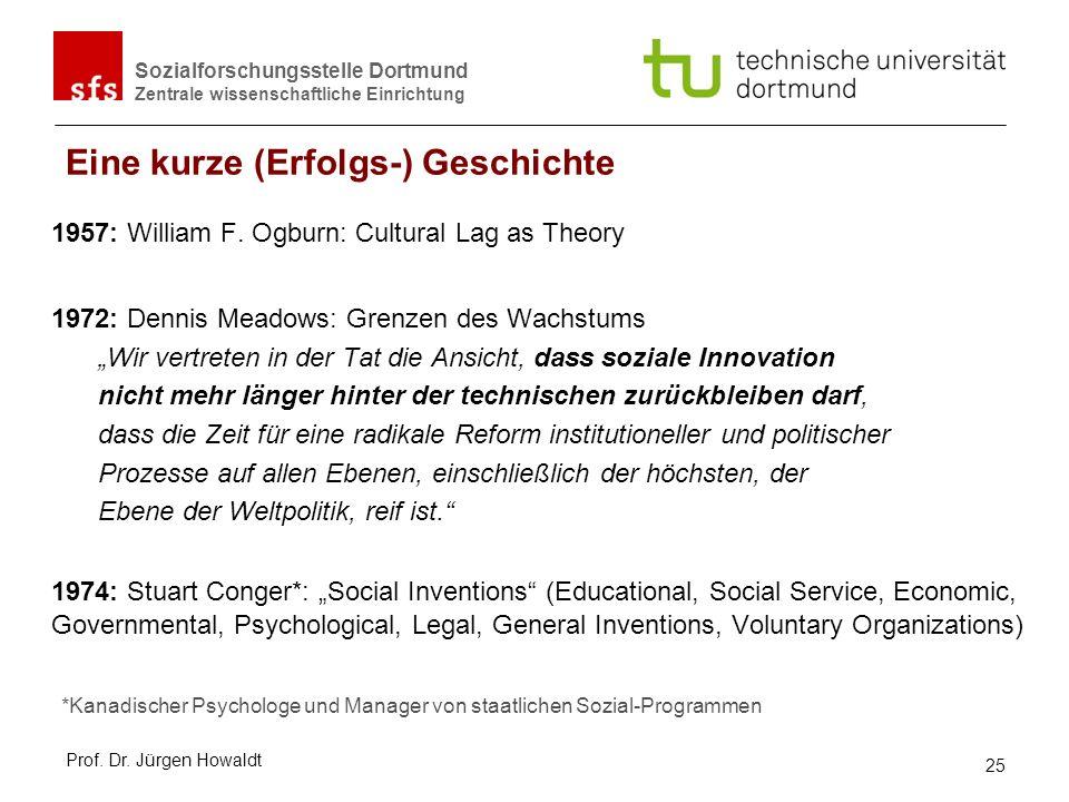 Sozialforschungsstelle Dortmund Zentrale wissenschaftliche Einrichtung Eine kurze (Erfolgs-) Geschichte 1957: William F. Ogburn: Cultural Lag as Theor