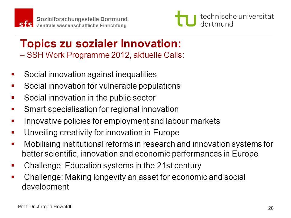 Sozialforschungsstelle Dortmund Zentrale wissenschaftliche Einrichtung Topics zu sozialer Innovation: – SSH Work Programme 2012, aktuelle Calls: Socia