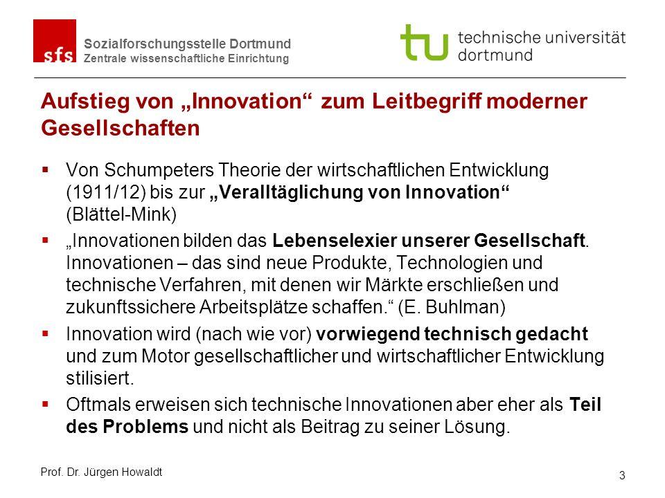 Sozialforschungsstelle Dortmund Zentrale wissenschaftliche Einrichtung Aufstieg von Innovation zum Leitbegriff moderner Gesellschaften Von Schumpeters