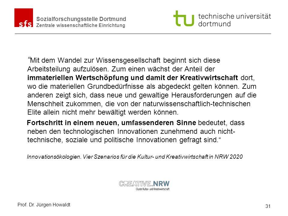Sozialforschungsstelle Dortmund Zentrale wissenschaftliche Einrichtung Mit dem Wandel zur Wissensgesellschaft beginnt sich diese Arbeitsteilung aufzul