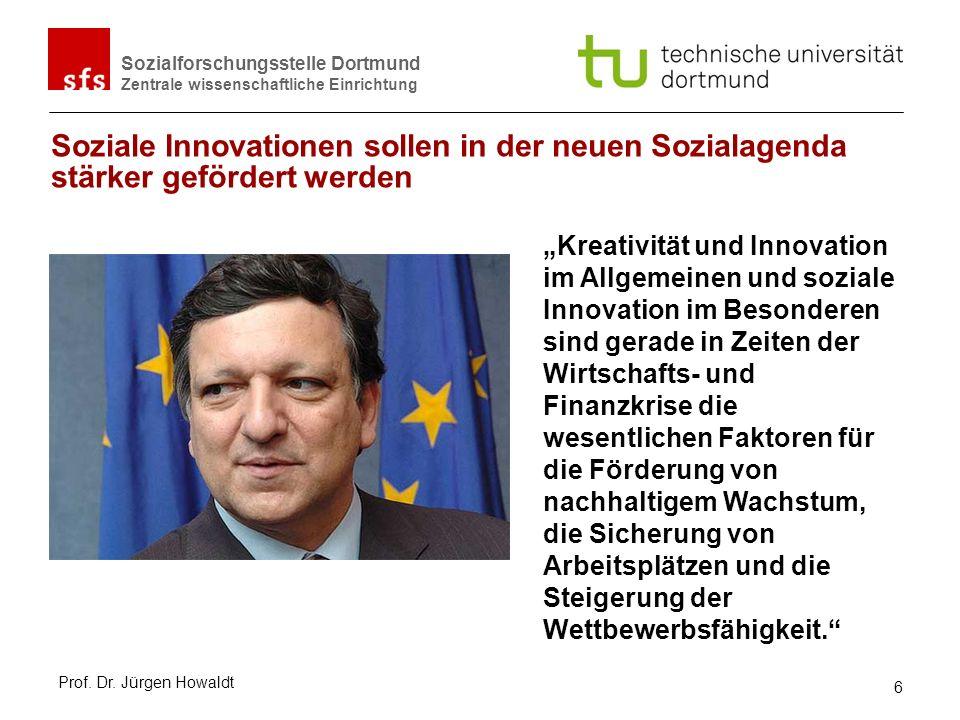 Sozialforschungsstelle Dortmund Zentrale wissenschaftliche Einrichtung Soziale Innovationen sind nicht identisch mit Sozialen Erfindungen/ social Inventions – Diffusion als Bedingung Sozialem Wandel = nicht-intendierte Änderung der Sozialstruktur vs.
