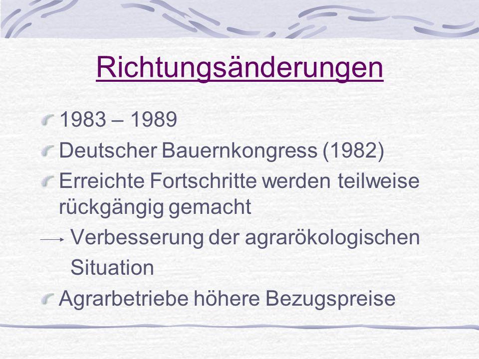 Richtungsänderungen 1983 – 1989 Deutscher Bauernkongress (1982) Erreichte Fortschritte werden teilweise rückgängig gemacht Verbesserung der agrarökolo