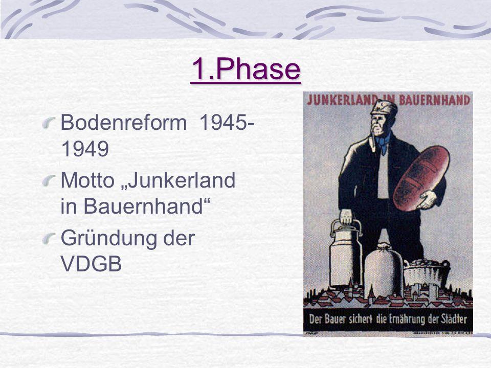1.Phase Bodenreform 1945- 1949 Motto Junkerland in Bauernhand Gründung der VDGB