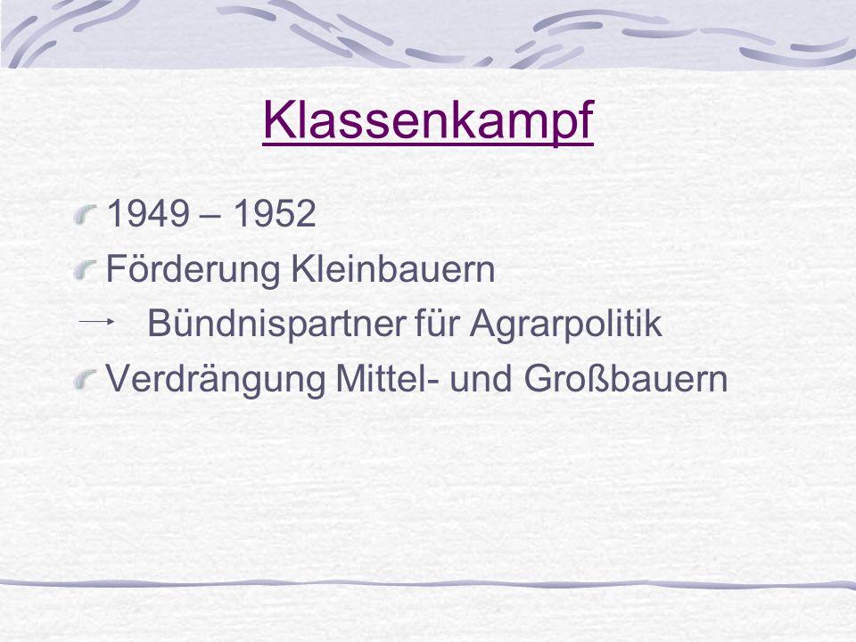 Klassenkampf 1949 – 1952 Förderung Kleinbauern Bündnispartner für Agrarpolitik Verdrängung Mittel- und Großbauern