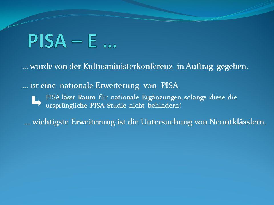 … wurde von der Kultusministerkonferenz in Auftrag gegeben. … ist eine nationale Erweiterung von PISA PISA lässt Raum für nationale Ergänzungen, solan