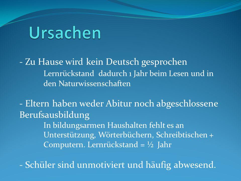 - Zu Hause wird kein Deutsch gesprochen Lernrückstand dadurch 1 Jahr beim Lesen und in den Naturwissenschaften - Eltern haben weder Abitur noch abgesc