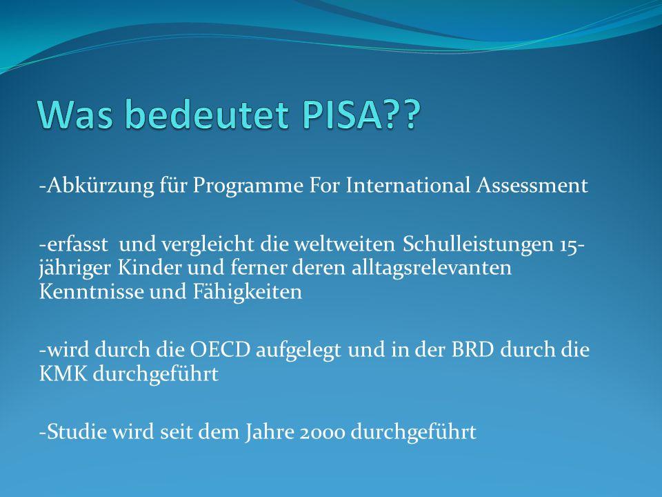 -Abkürzung für Programme For International Assessment -erfasst und vergleicht die weltweiten Schulleistungen 15- jähriger Kinder und ferner deren allt