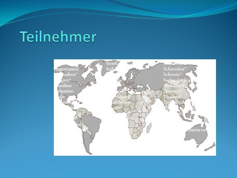 Albanien Argentinien Australien* Belgien* Brasilien Bulgarien Chile Dänemark* Deutschland* Finnland* Frankreich* Griechenland* Großbritannien* Hong Ko