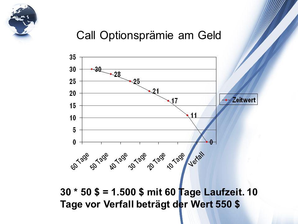 Call Optionsprämie am Geld 30 * 50 $ = 1.500 $ mit 60 Tage Laufzeit. 10 Tage vor Verfall beträgt der Wert 550 $