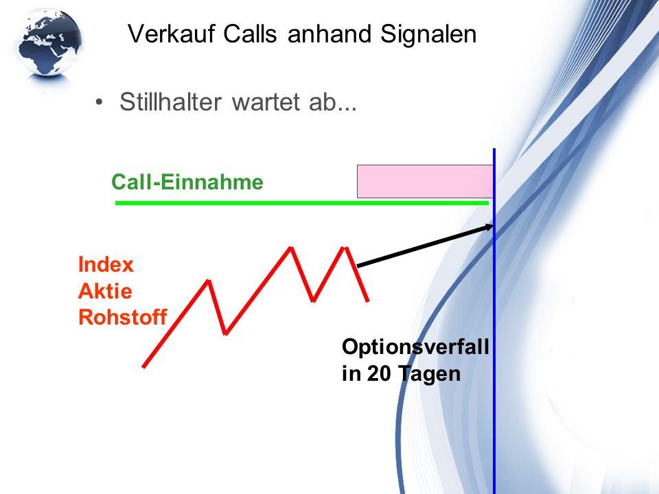 Verkauf Calls anhand Signalen Stillhalter wartet ab... Index Aktie Rohstoff Optionsverfall in 20 Tagen Call-Einnahme