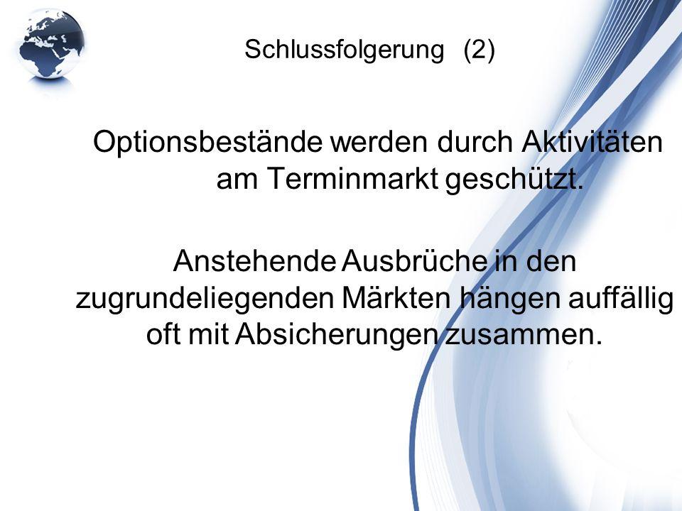 Schlussfolgerung (2) Optionsbestände werden durch Aktivitäten am Terminmarkt geschützt. Anstehende Ausbrüche in den zugrundeliegenden Märkten hängen a