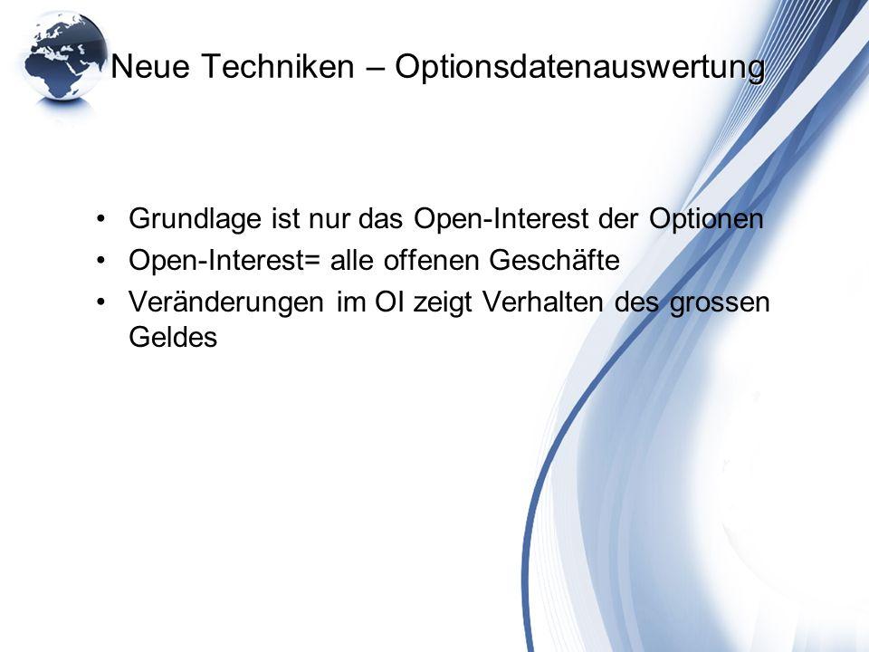 Neue Techniken – Optionsdatenauswertung Grundlage ist nur das Open-Interest der Optionen Open-Interest= alle offenen Geschäfte Veränderungen im OI zei