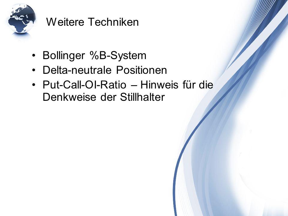 Weitere Techniken Bollinger %B-System Delta-neutrale Positionen Put-Call-OI-Ratio – Hinweis für die Denkweise der Stillhalter