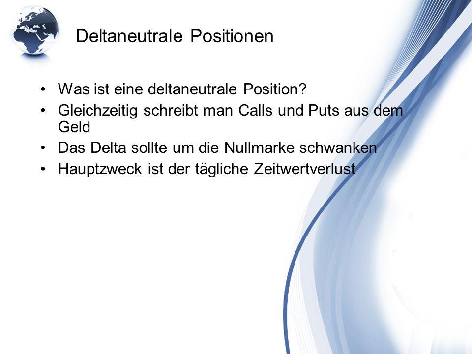 Deltaneutrale Positionen Was ist eine deltaneutrale Position? Gleichzeitig schreibt man Calls und Puts aus dem Geld Das Delta sollte um die Nullmarke