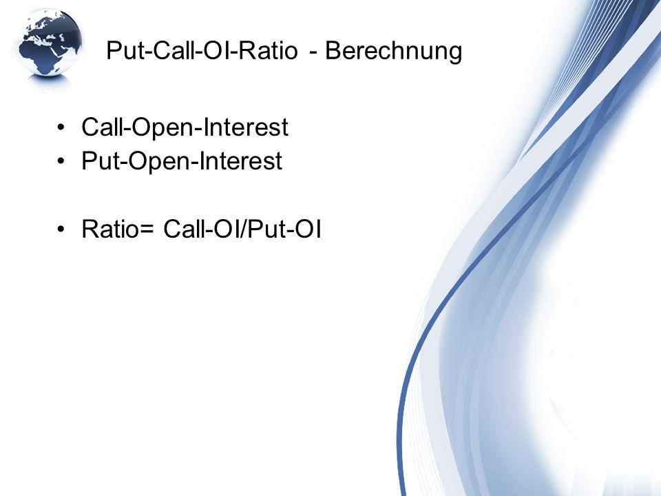 Put-Call-OI-Ratio - Berechnung Call-Open-Interest Put-Open-Interest Ratio= Call-OI/Put-OI