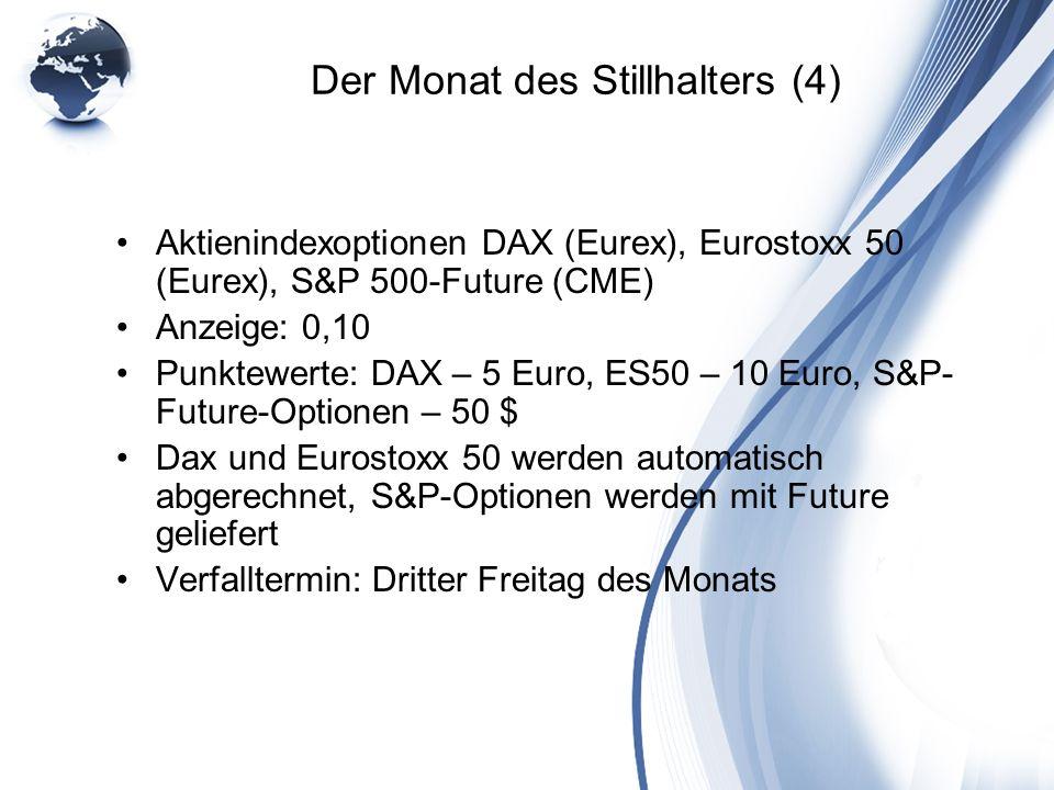 Der Monat des Stillhalters (4) Aktienindexoptionen DAX (Eurex), Eurostoxx 50 (Eurex), S&P 500-Future (CME) Anzeige: 0,10 Punktewerte: DAX – 5 Euro, ES