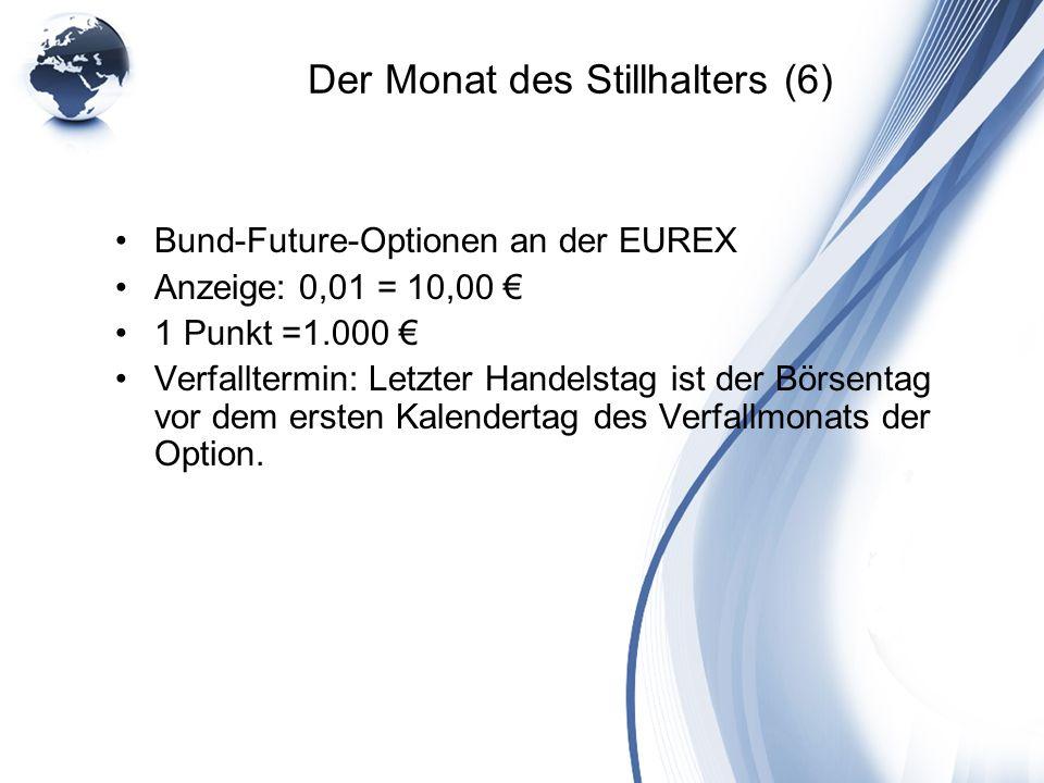 Der Monat des Stillhalters (6) Bund-Future-Optionen an der EUREX Anzeige: 0,01 = 10,00 1 Punkt =1.000 Verfalltermin: Letzter Handelstag ist der Börsen