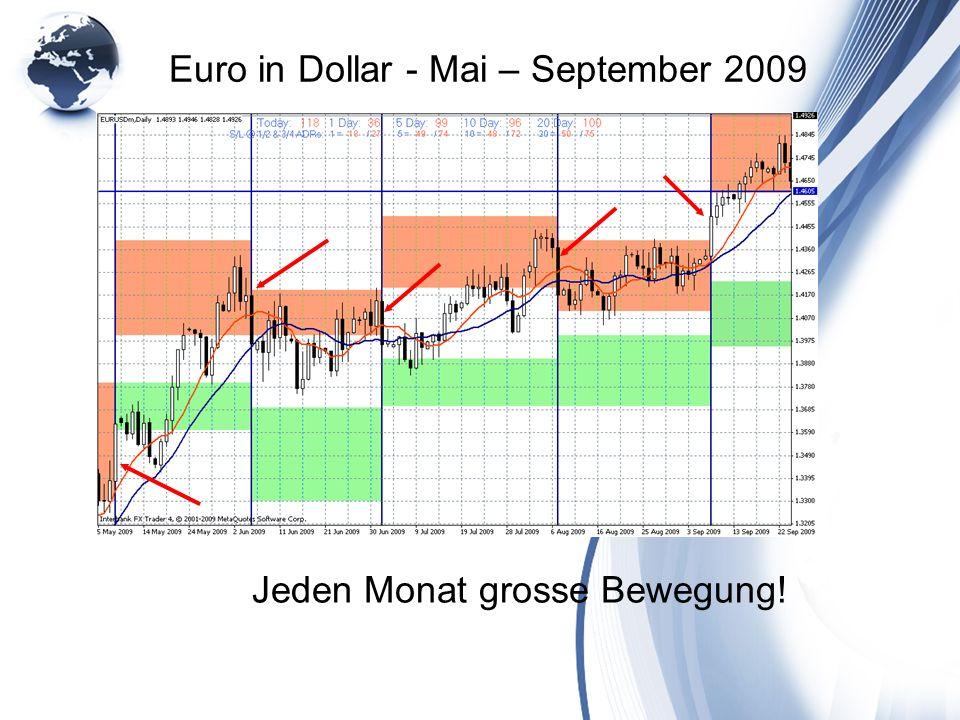 Euro in Dollar - Mai – September 2009 Jeden Monat grosse Bewegung!