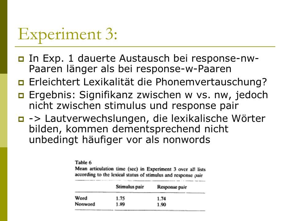 Experiment 3: In Exp. 1 dauerte Austausch bei response-nw- Paaren länger als bei response-w-Paaren Erleichtert Lexikalität die Phonemvertauschung? Erg