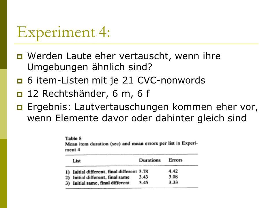 Experiment 4: Werden Laute eher vertauscht, wenn ihre Umgebungen ähnlich sind? 6 item-Listen mit je 21 CVC-nonwords 12 Rechtshänder, 6 m, 6 f Ergebnis