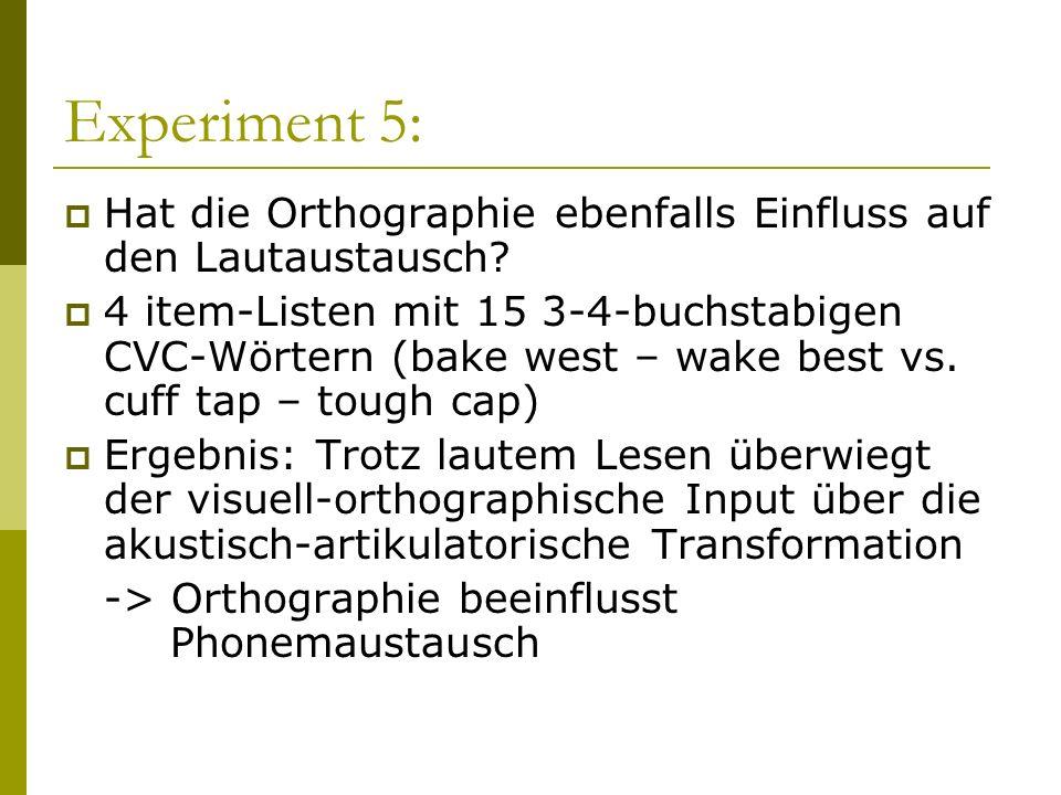 Experiment 5: Hat die Orthographie ebenfalls Einfluss auf den Lautaustausch? 4 item-Listen mit 15 3-4-buchstabigen CVC-Wörtern (bake west – wake best