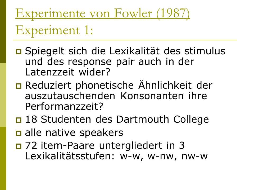 Experimente von Fowler (1987) Experiment 1: Spiegelt sich die Lexikalität des stimulus und des response pair auch in der Latenzzeit wider? Reduziert p