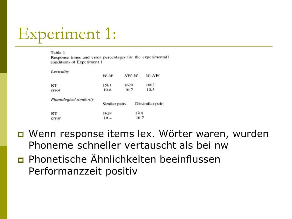 Experiment 1: Wenn response items lex. Wörter waren, wurden Phoneme schneller vertauscht als bei nw Phonetische Ähnlichkeiten beeinflussen Performanzz