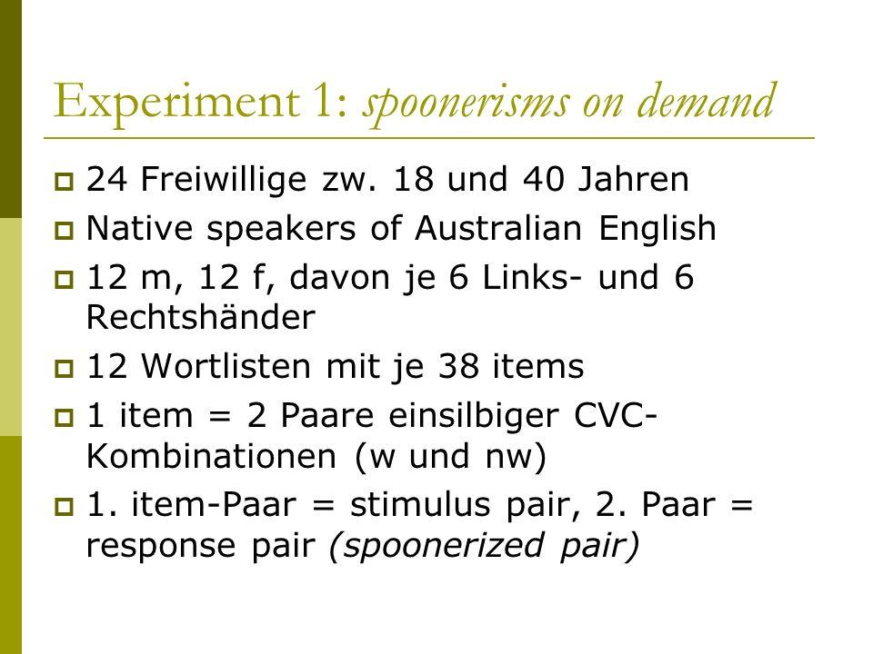 Experiment 1: spoonerisms on demand 24 Freiwillige zw. 18 und 40 Jahren Native speakers of Australian English 12 m, 12 f, davon je 6 Links- und 6 Rech
