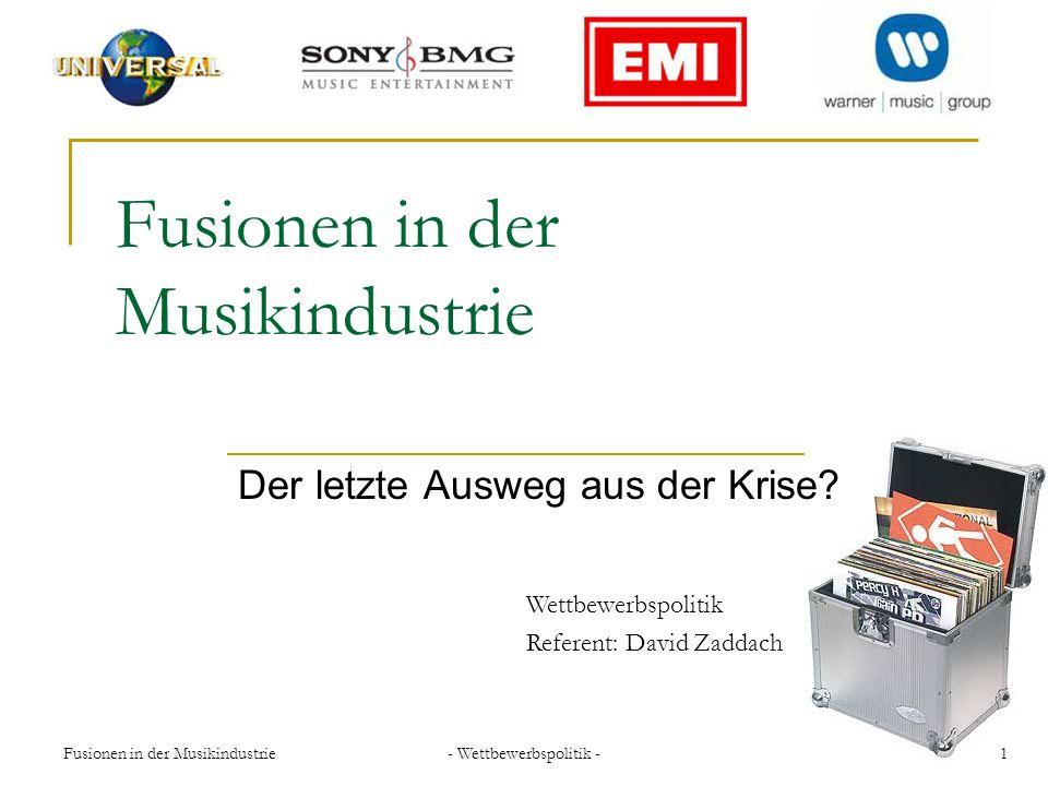 - Wettbewerbspolitik - 12Fusionen in der Musikindustrie Sony BMG 2004 ohne Auflagen genehmigt keine dominante Rolle gemeinsam ein Fünftel des Marktes nicht in der Lage den Preis zu bestimmen Mutterkonzerne halten je 50 Prozent der Anteile