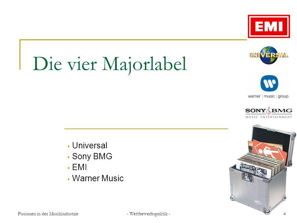 - Wettbewerbspolitik - 15Fusionen in der Musikindustrie Gescheiterte Fusionsversuche der EMI EMI und Warner Music (2000) EMI und BMG (2001) EMI und Warner Music (2003) Aktuelle Fusionsvorhaben