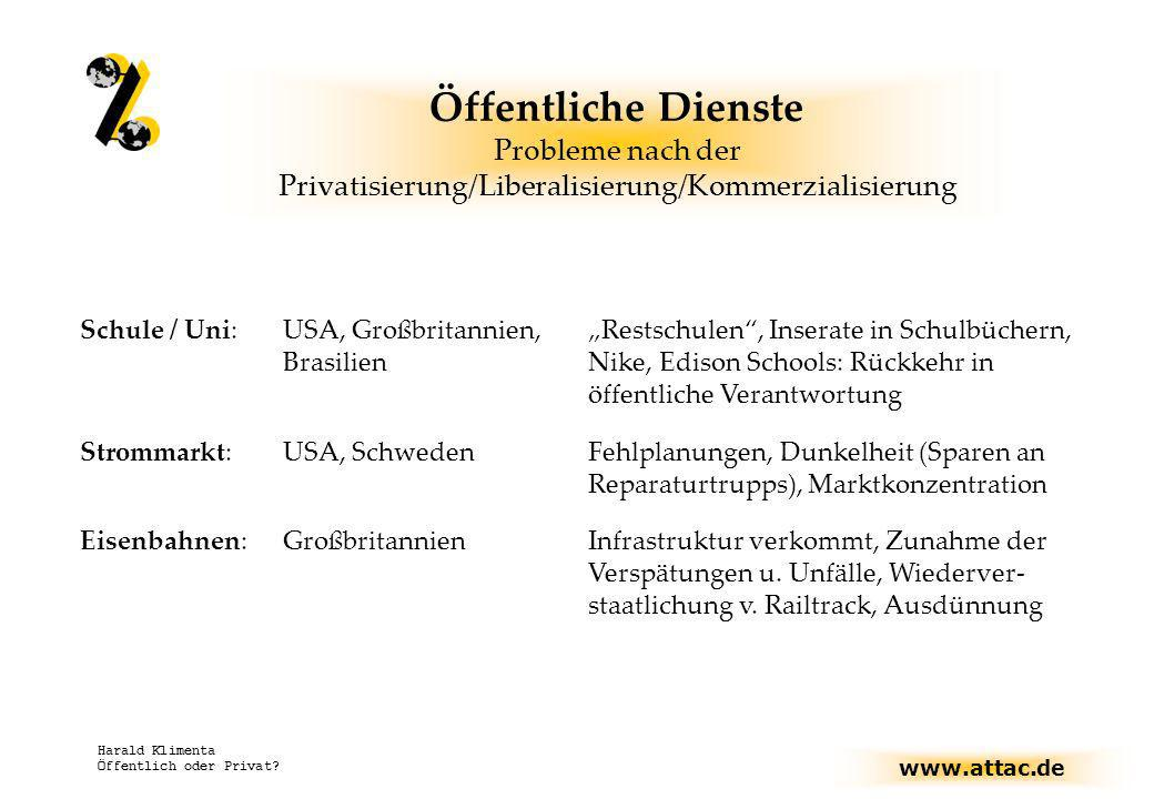 www.attac.de Harald Klimenta Öffentlich oder Privat? Öffentliche Dienste Probleme nach der Privatisierung/Liberalisierung/Kommerzialisierung Schule /