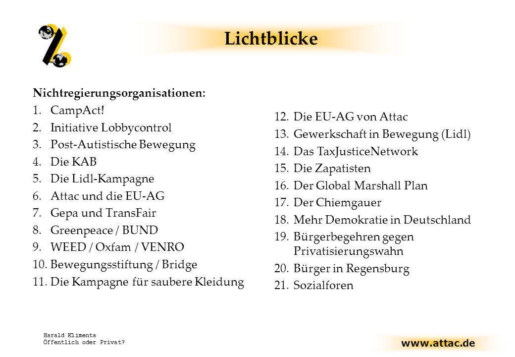 www.attac.de Harald Klimenta Öffentlich oder Privat? Lichtblicke Nichtregierungsorganisationen: 1.CampAct! 2.Initiative Lobbycontrol 3.Post-Autistisch
