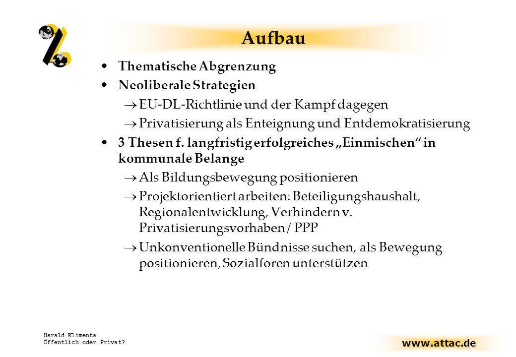 www.attac.de Harald Klimenta Öffentlich oder Privat? Aufbau Thematische Abgrenzung Neoliberale Strategien EU-DL-Richtlinie und der Kampf dagegen Priva