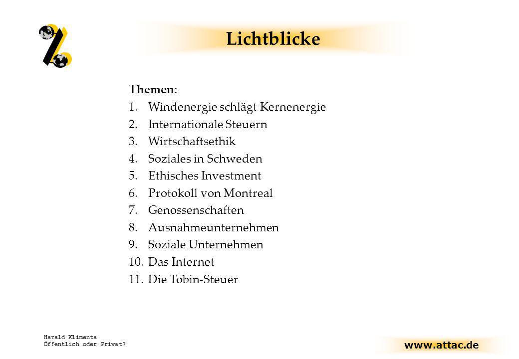 www.attac.de Harald Klimenta Öffentlich oder Privat? Lichtblicke Themen: 1.Windenergie schlägt Kernenergie 2.Internationale Steuern 3.Wirtschaftsethik