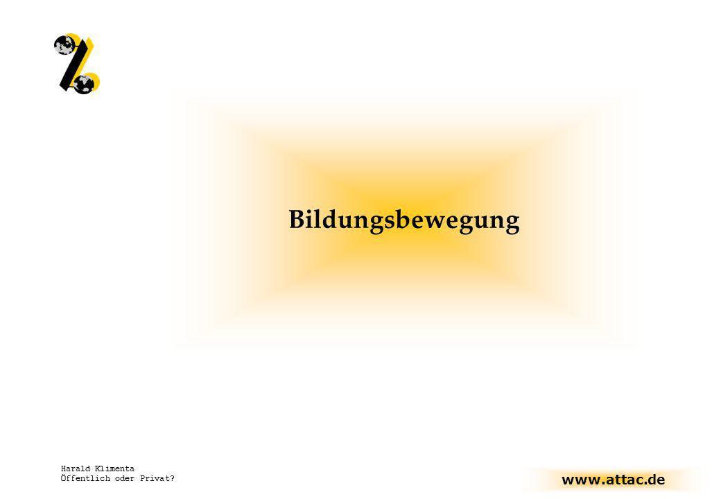 www.attac.de Harald Klimenta Öffentlich oder Privat? Bildungsbewegung