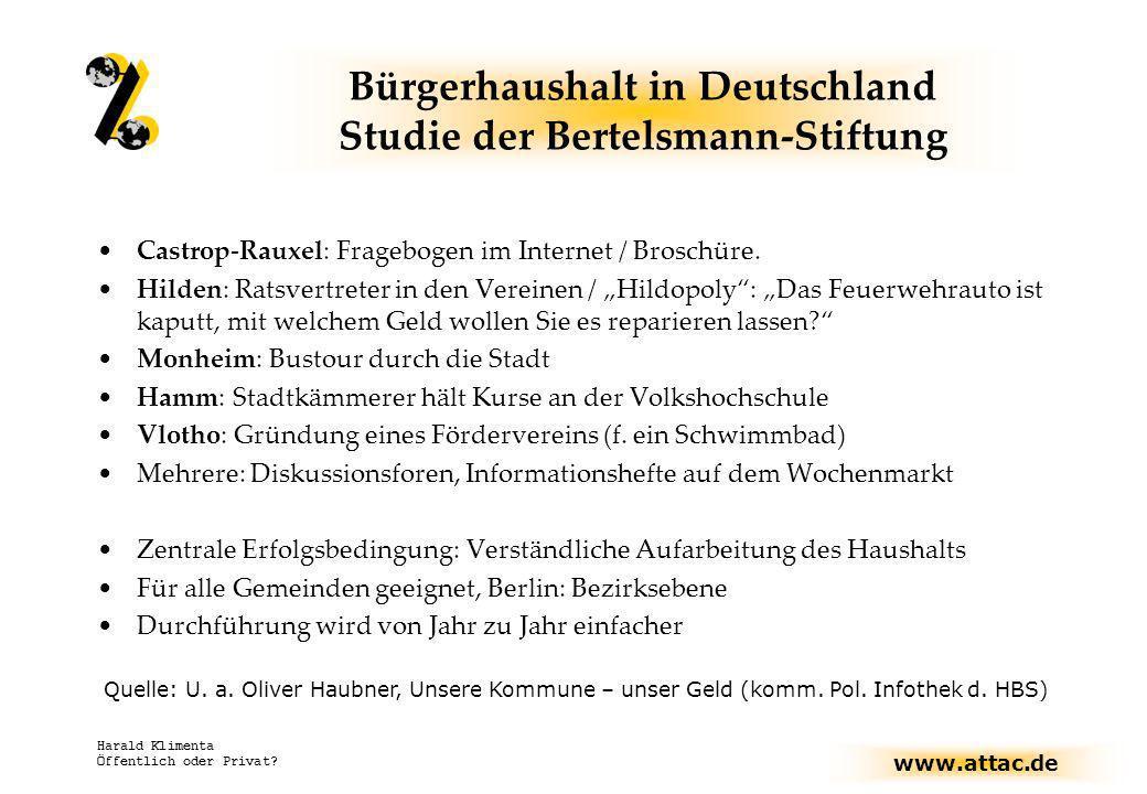 www.attac.de Harald Klimenta Öffentlich oder Privat? Bürgerhaushalt in Deutschland Studie der Bertelsmann-Stiftung Castrop-Rauxel: Fragebogen im Inter