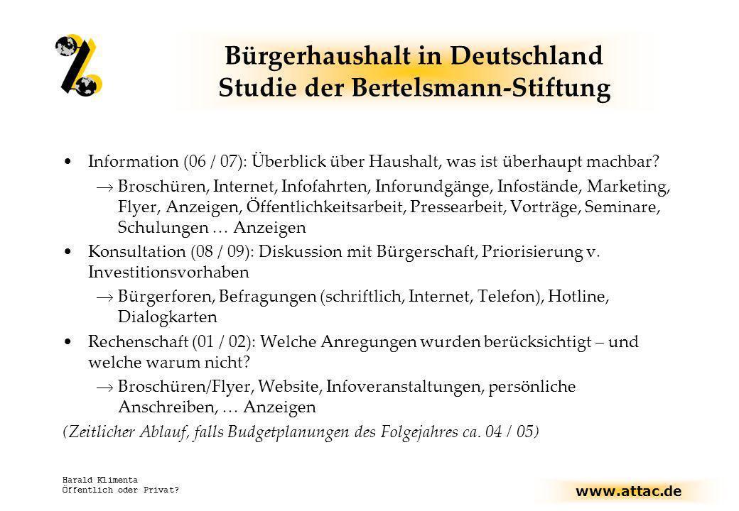 www.attac.de Harald Klimenta Öffentlich oder Privat? Bürgerhaushalt in Deutschland Studie der Bertelsmann-Stiftung Information (06 / 07): Überblick üb
