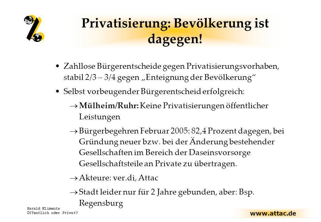 www.attac.de Harald Klimenta Öffentlich oder Privat? Privatisierung: Bevölkerung ist dagegen! Zahllose Bürgerentscheide gegen Privatisierungsvorhaben,