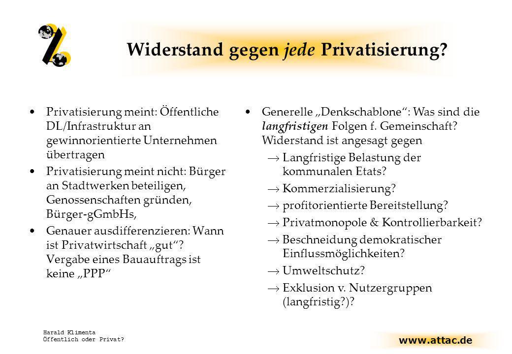 www.attac.de Harald Klimenta Öffentlich oder Privat? Widerstand gegen jede Privatisierung? Privatisierung meint: Öffentliche DL/Infrastruktur an gewin
