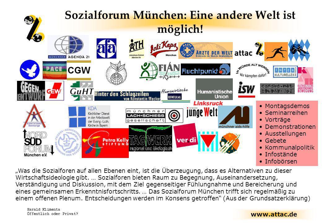 www.attac.de Harald Klimenta Öffentlich oder Privat? Sozialforum München: Eine andere Welt ist möglich! Was die Sozialforen auf allen Ebenen eint, ist
