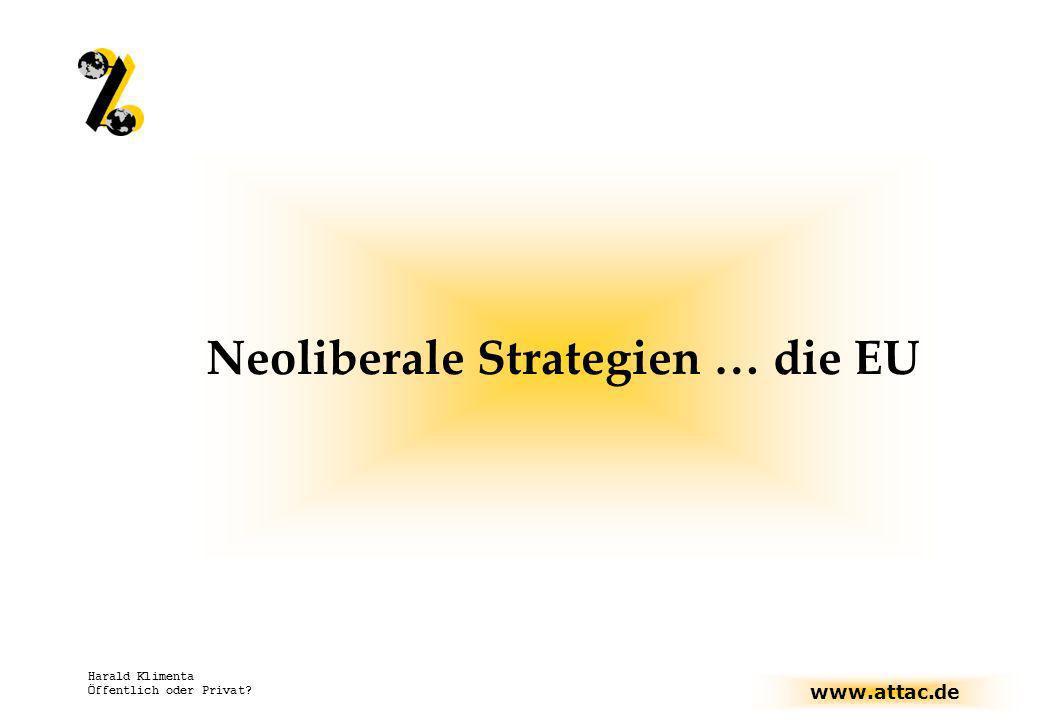 www.attac.de Harald Klimenta Öffentlich oder Privat? Neoliberale Strategien … die EU