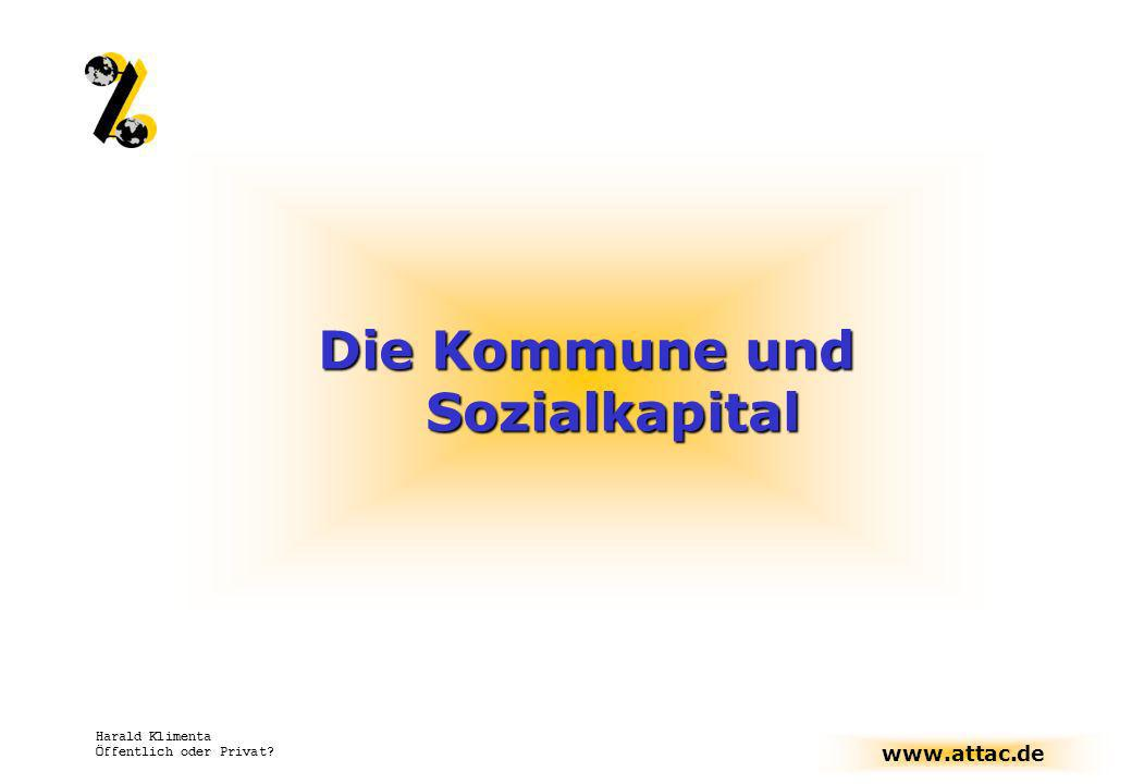 www.attac.de Harald Klimenta Öffentlich oder Privat? Die Kommune und Sozialkapital