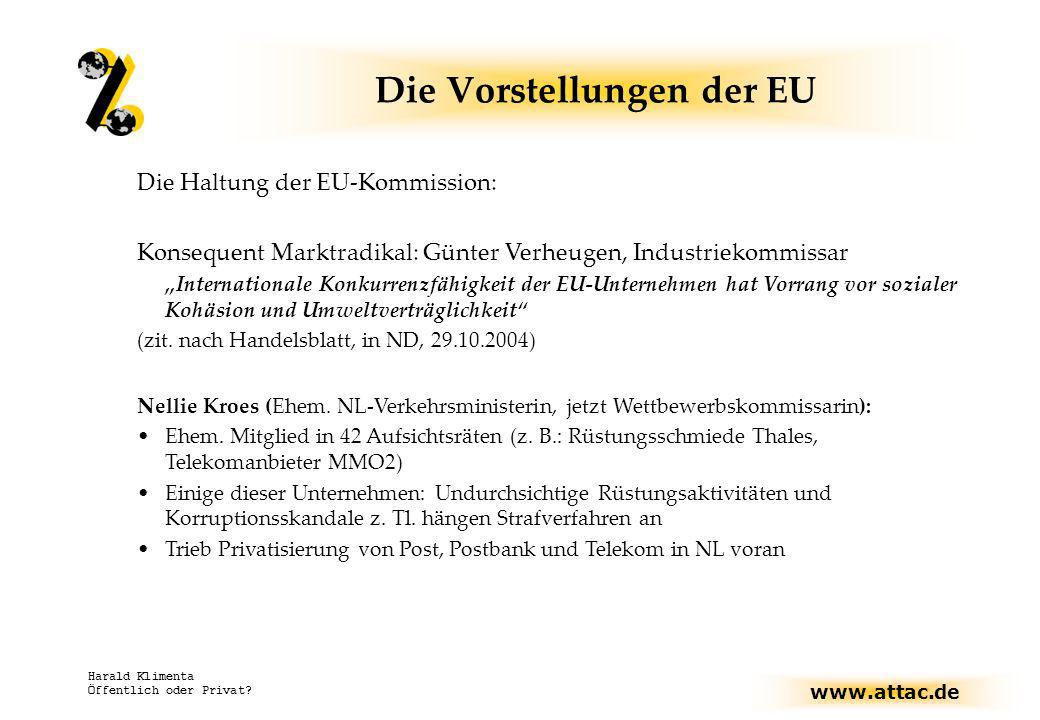 www.attac.de Harald Klimenta Öffentlich oder Privat? Die Haltung der EU-Kommission: Konsequent Marktradikal: Günter Verheugen, Industriekommissar Inte