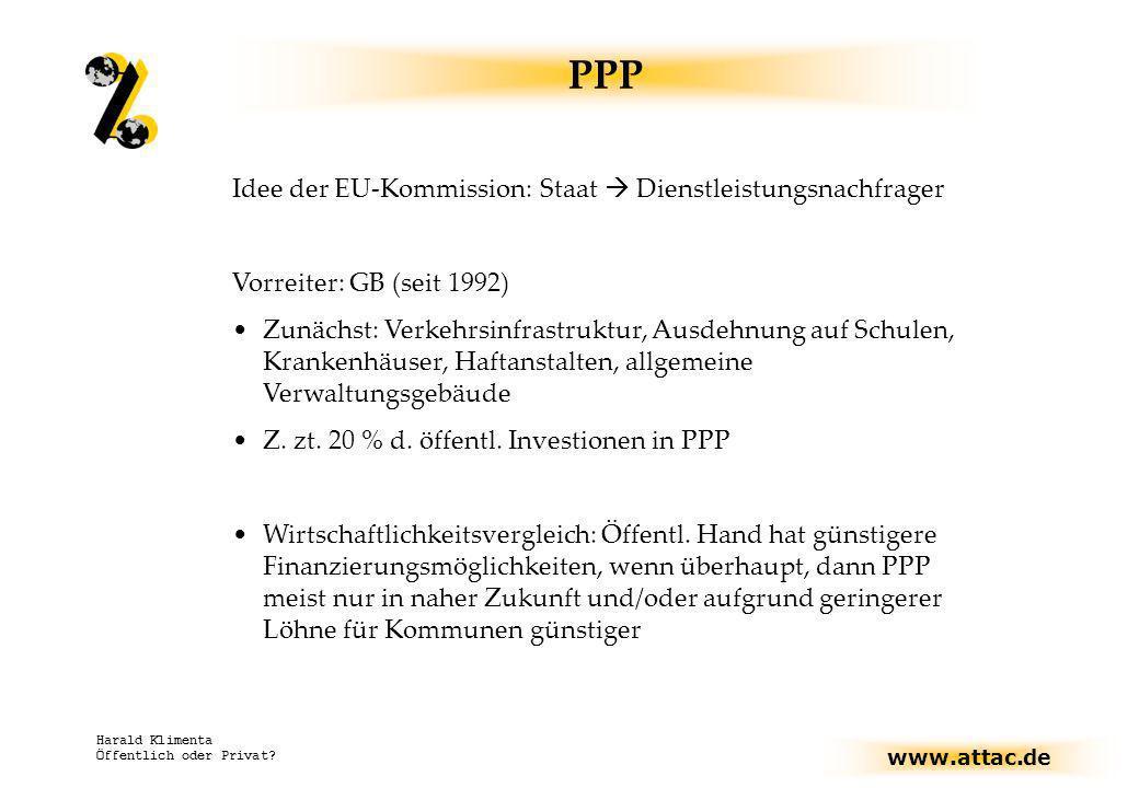 www.attac.de Harald Klimenta Öffentlich oder Privat? PPP Idee der EU-Kommission: Staat Dienstleistungsnachfrager Vorreiter: GB (seit 1992) Zunächst: V