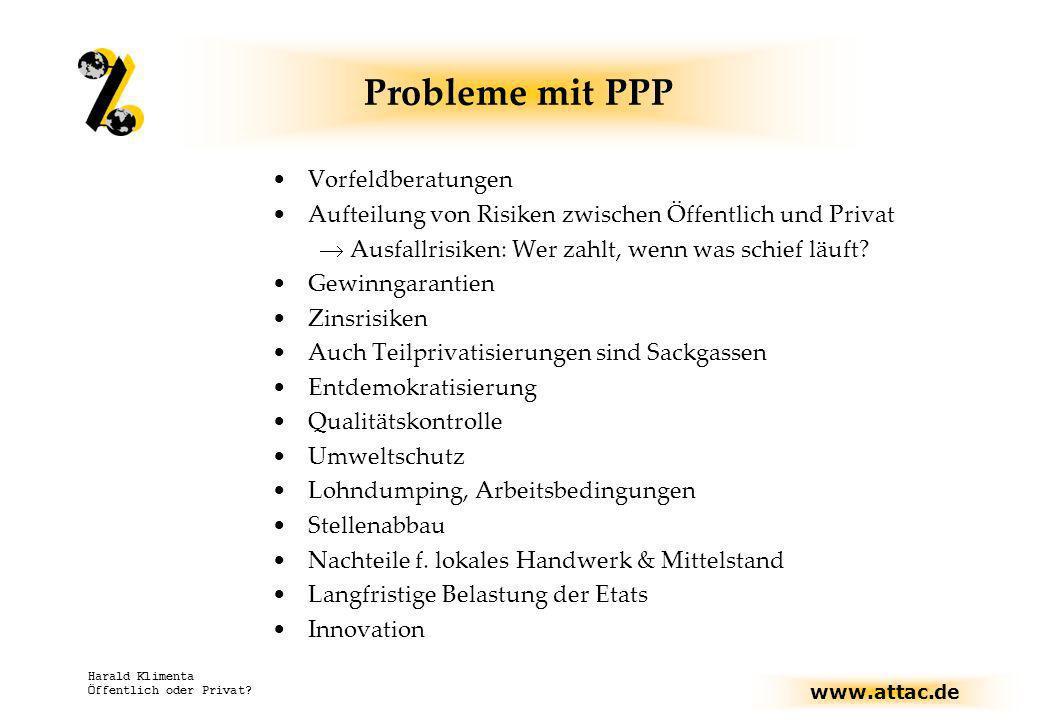 www.attac.de Harald Klimenta Öffentlich oder Privat? Probleme mit PPP Vorfeldberatungen Aufteilung von Risiken zwischen Öffentlich und Privat Ausfallr